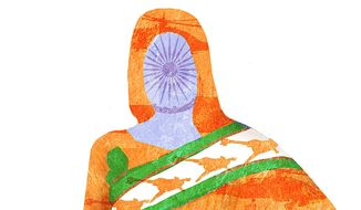Illustration on India's new wave of defense spending by Alexander Hunter/The Washington Times
