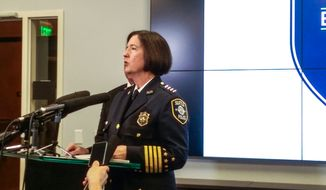 Seattle Police Chief Kathleen O'Toole speaks to reporters during a news conference Monday, April 11, 2016, in Seattle. Multiple body parts — including a foot — found in a homeowner's recycling bin likely belong to a woman who was reported missing Saturday morning, Seattle police said Monday. (Lynsi Burton/seattlepi.com via AP)