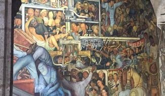 A mural by Diego Rivera on a government building in Mexico City.  (Eric Althoff)