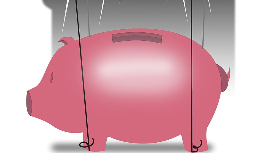 Illustration on financial abuses of the CFPB by Linas Garsys/The Washington Times