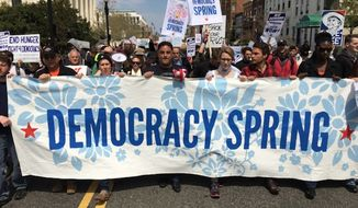 Protesters marched from Philadelphia to Washington D.C. where they plan to hold a week of rallies and demonstrations against big money's influence over politics. (Image: Twitter @Zackroth)