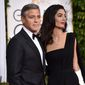George Clooney and his wife Amal, seen here arriving at annual Golden Globe Awards, host a campaign fundraiser for Hillary Clinton on Friday. (Associated Press)