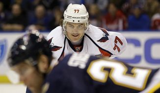 Washington Capitals' T.J. Oshie watches a face-off during the first period of an NHL hockey game against the St. Louis Blues Saturday, April 9, 2016, in St. Louis. (AP Photo/Jeff Roberson)