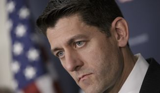 House Speaker Paul Ryan of Wis. pauses during a news conference following a closed-door meeting of House Republicans, on Capitol Hill in Washington, Wednesday, April 13, 2016.  (AP Photo/J. Scott Applewhite)