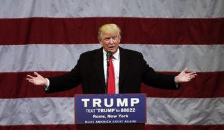 In this April 12, 2016 file photo, Republican presidential candidate Donald Trump speaks in Rome, N.Y. (AP Photo/Mike Groll, File)