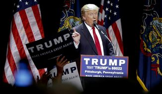 Republican presidential candidate Donald Trump speaks during a campaign rally in Pittsburgh, Wednesday, April 13, 2016. (AP Photo/Keith Srakocic)