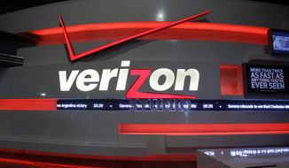 This April 7, 2013, file photo, shows the Verizon studio booth at MetLife Stadium, in East Rutherford, N.J. About 39,000 Verizon landline and cable workers in nine eastern states and Washington, D.C., went on strike Wednesday, April 13, 2016, after working without a contract since August. (AP Photo/Mel Evans, File)