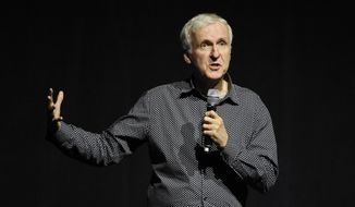 Director James Cameron addresses the audience during the 20th Century Fox presentation at CinemaCon 2016, the official convention of the National Association of Theatre Owners (NATO), at Caesars Palace on Thursday, April 14, 2016, in Las Vegas. (Photo by Chris Pizzello/Invision/AP)