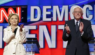Democratic presidential candidates Hillary Clinton and Sen. Bernard Sanders met for their ninth debate in New York City ahead of the all important New York primary on Thursday. (Associated Press)