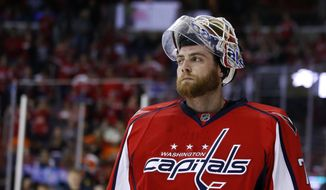Washington Capitals goalie Braden Holtby (70) pauses during a break the first period of Game 1 in the first round of the NHL Stanley Cup hockey playoffs against the Philadelphia Flyers, Thursday, April 14, 2016, in Washington. (AP Photo/Alex Brandon)