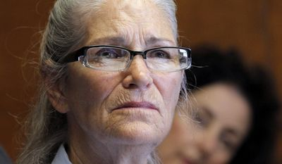 Leslie Van Houten appears during a parole hearing on June 5, 2013, at the California Institution for Women in Chino, Calif. (Associated Press)
