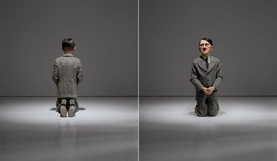 """This combination of undated photos provided by Christie's shows """"Him,"""" a controversial sculpture of Adolf Hitler by Maurizio Cattelan. Viewed from the rear, it appears as a child-like figure kneeling in prayer. But from the front, viewers come face-to-face with a likeness of the Nazi leader. The work is among the highlights of a special sale at Christie's auction house in New York scheduled for May 8, 2016. (Christie's/Marian Goodman Gallery/copyright Maurizio Cattelan via AP)"""