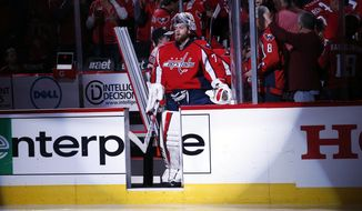Washington Capitals goalie Braden Holtby (70) and others prepare to take the ice before Game 2 in the first round of the NHL Stanley Cup hockey playoffs against the Philadelphia Flyers, Saturday, April 16, 2016, in Washington. (AP Photo/Alex Brandon)