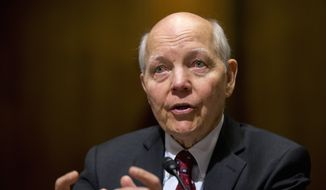 In this file photo taken Feb. 10, 2016, Internal Revenue Service (IRS) Commissioner John Koskinen testifies on Capitol Hill in Washington. (AP Photo/Manuel Balce Ceneta)