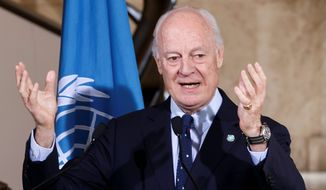"""In Geneva on Monday, U.N. Syrian Envoy Staffan de Mistura sought to counter the image of a negotiation in trouble, noting that a U.N. team would continue """"technical"""" discussions with them in hopes of firming up a blueprint for a political transition in Syria. (Associated Press)"""