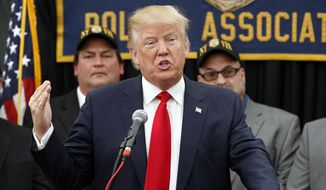 Republican presidential candidate, Donald Trump speaks at a campaign rally Sunday, April 17, 2016, in Staten Island, N.Y. (AP Photo/Mel Evans)