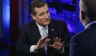 "Republican presidential candidate Ted Cruz is interviewed by host Bill O'Reilly during ""The O'Reilly Factor"" television program, on the Fox News Channel in New York, Monday, April 18, 2016. (AP Photo/Richard Drew)"