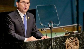 Jimmy Morales, president of the Republic of Guatemala, addresses the United Nations' special session on global drug policy  at U.N. headquarters on April 19, 2016. It is the first U.N. special session to address global drug policy in nearly 20 years. (Associated Press)