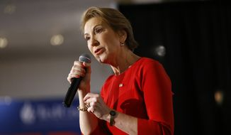 Carly Fiorina speaks during a campaign stop by Republican presidential candidate Sen. Ted Cruz, R-Texas, Wednesday, April 20, 2016, at the Antique Automobile Club of America Museum in Hershey, Pa. (AP Photo/Julio Cortez) ** FILE **