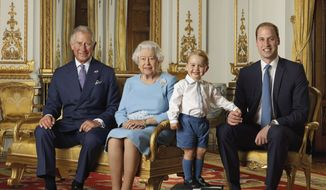 In this image released by the Royal Mail on Wednesday April 20, 2016, Britain's Prince George stands on foam blocks during a photo shoot for the Royal Mail in the summer of 2015 in the White Drawing Room at Buckingham Palace in London for a stamp sheet to mark the 90th birthday of Britain's Queen Elizabeth II. The image features four generations of the Royal family, from left, Prince Charles, Queen Elizabeth II, Prince George and Prince William, the Duke of Cambridge. (Ranald Mackechnie/Royal Mail via AP)