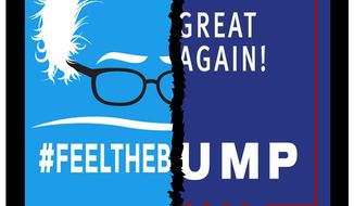 Illustration on the similarities of Sanders and Trump by Alexander Hunter/The Washington Times