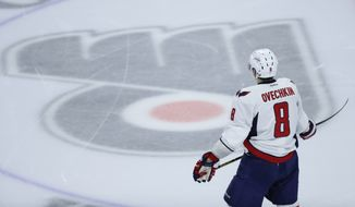 Washington Capitals' Alex Ovechkin in action during Game 4 in the first round of the NHL Stanley Cup hockey playoffs against the Philadelphia Flyers, Wednesday, April 20, 2016, in Philadelphia. (AP Photo/Matt Slocum)