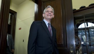 Judge Merrick Garland, President Barack Obama's choice to replace the late Justice Antonin Scalia on the Supreme Court, arrives to the office of Sen. Tim Kaine, D-Va., for a private meeting at Capitol Hill in Washington, Thursday, April 21, 2016. ( AP Photo/Jose Luis Magana)