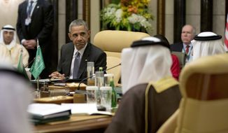 President Obama looks to Saudi Arabia's King Salman as he speaks during the Gulf Cooperation Council Summit in Riyadh, Saudi Arabia, on April 21, 2016. (Associated Press) **FILE**