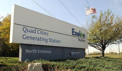 This Oct. 7, 2011, photo shows the North entrance to the Exelon nuclear power plant, in Cordova Ill. (Paul Colletti/The Dispatch via AP)