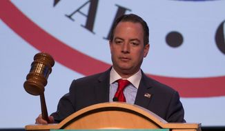 Republican National Committee (RNC) Chairman Reince Priebus bangs the gavel to signal the end the general session of the Republican National Committee Spring Meeting, Friday, April 22, 2016, in Hollywood, Fla. (AP Photo/Wilfredo Lee) ** FILE **