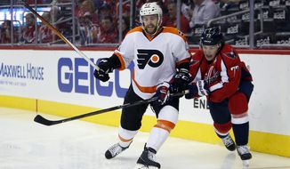 Philadelphia Flyers defenseman Andrew MacDonald, left, and Washington Capitals right wing T.J. Oshie vie for the puck during the second period of Game 5 in a first-round NHL Stanley Cup hockey playoff series, Friday, April 22, 2016, in Washington. (AP Photo/Alex Brandon)