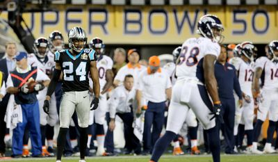 Carolina Panthers' Josh Norman #24 is seen against the Denver Broncos during the NFL Super Bowl 50 football game Sunday, Feb. 7, 2016, in Santa Clara, Calif.  (AP Photo/Gregory Payan)