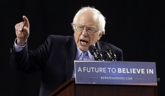 Democratic presidential candidate, Sen. Bernie Sanders, I-Vt., speaks during a rally in Baltimore, Saturday, April 23, 2016. (AP Photo/Patrick Semansky)