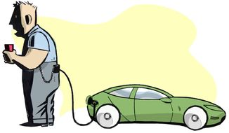 Illustration on the costs of electric cars by Alexander Hunter/The Washington Times