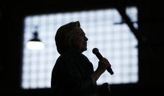 Democratic presidential candidate Hillary Clinton speaks during a campaign stop, Sunday, April 24, 2016, at the University of Bridgeport in Bridgeport, Conn. (AP Photo/Matt Rourke) ** FILE **