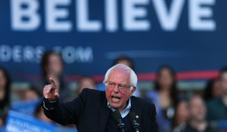 Democratic presidential candidate Sen. Bernie Sanders, I-Vt., addresses supporters during a campaign rally on New Haven Green in New Haven, Conn., Sunday, April 24, 2016. (AP Photo/Charles Krupa)