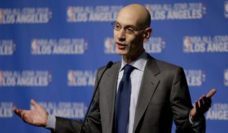 NBA Commissioner Adam Silver announces that Los Angeles will host the 2018 NBA All-Star game at Staples Center, in Los Angeles, Tuesday, March 22, 2016. (AP Photo/Chris Carlson)