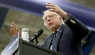 Democratic presidential candidate,  Sen. Bernie Sanders, I-Vt., speaks during a campaign rally at Fitzgerald Fieldhouse on the University of Pittsburgh campus, Monday, April 25, 2016, in Pittsburgh. (AP Photo/Keith Srakocic)
