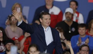 Republican presidential candidate Sen. Ted Cruz, R-Texas, speaks during a rally at the Johnson County Fairgrounds in Franklin, Ind., Monday, April 25, 2016. (AP Photo/Michael Conroy)
