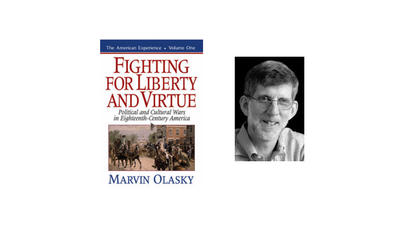 "Marvin Olasky, editor-in-chief of WORLD magazine, alongside the cover of his 1995 book, ""Fighting for Liberty and Virtue."""