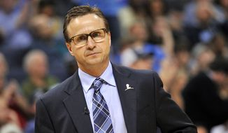 Oklahoma City Thunder head coach Scott Brooks is seen in the second half of an NBA basketball game against the Memphis Grizzlies Friday, April 3, 2015, in Memphis, Tenn. The Grizzlies won 100-92. (AP Photo/Brandon Dill)