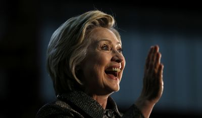 Democratic presidential candidate Hillary Clinton waves during a campaign stop, Tuesday, April 26, 2016, at Munster Steel in Hammond, Ind. (AP Photo/Matt Rourke)