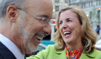 Katie McGinty, Democratic candidate for the U.S. Senate, campaigns with Gov. Tom Wolf in Philadelphia on April 26, 2016. (Tom Gralish/The Philadelphia Inquirer via AP) **FILE**