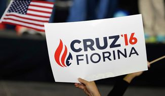 A new campaign poster for the Ted Cruz/Carly Fiorina ticket, unveiled at a rally in Indianapolis on Wednesday. (Associated press)