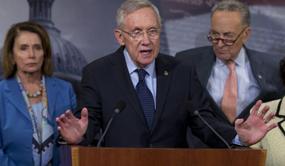Senate Minority Leader Sen. Harry Reid of Nev., joined by House Minority Leader Nancy Pelosi of Calif., left and Sen. Charles Schumer, D-N.Y., speaks during a news conference on Capitol Hill in Washington, Wednesday, April 27, 2016, to call on congressional Republicans to approve President Barack Obama's emergency supplemental request to fight the Zika virus. (Associated Press) **FILE**