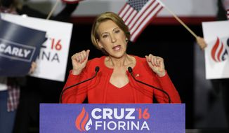 Former Hewlett-Packard CEO Carly Fiorina speaks during a rally for Republican presidential candidate Sen. Ted Cruz, R-Texas, in Indianapolis, Wednesday, April 27, 2016. Cruz chose Fiorina as his running mate. (AP Photo/Michael Conroy)