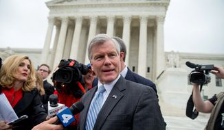 Former Virginia Gov. Bob McDonnell speaks outside the Supreme Court in Washington, Wednesday, April 27, 2016, after the Supreme Court heard oral arguments on the corruption case against McDonnell. (AP Photo/Andrew Harnik)