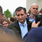 Republican presidential candidate Sen. Ted Cruz greets supporters Thursday during a campaign stop in Elkhart, Indiana. (Associated Press)