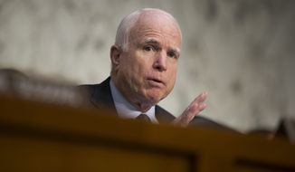 Senate Armed Services Committee Chairman Sen. John McCain, R-Ariz. speaks on Capitol Hill in Washington, Thursday, April 28, 2016, during the committee's hearing on the Islamic State group. McCain is calling the U.S. response to the extremists reactive, slow, and insufficient. (AP Photo/Evan Vucci)