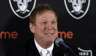 FILe - In this Feb. 11, 2016 file photo, Oakland Raiders owner Mark Davis speaks during a media conference in Oakland, Calif. Raiders owner Mark Davis says he wants to move the team to Las Vegas and is willing to spend a half billion dollars as part of a deal for a new stadium in the city. Davis upped the ante in a bid to move the team to this gambling city, appearing Thursday, April 28, 2016, alongside soccer great David Beckham and billionaire casino owner Sheldon Adelson before a committee studying the idea of a $1.4 billion stadium. (AP Photo/Ben Margot, File)